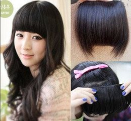 Wholesale human hair fringes extension bang width cm length cm hair piece