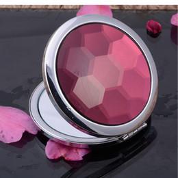 Promotion côté de l'artisanat Cristal Mirror Mirror Honeycomb Face Petit Round Art Craft Compact Folding Double Side Magnify Femmes Maquillage Miroir Valentines 10pcs cadeaux