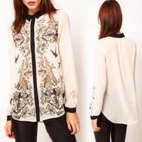 Wholesale NEW WOMEN LADY FASHION Bird flower print long sleeve SHEER Chiffon shirt tops