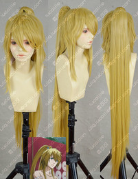 Wholesale Popular New long Golden Blonde Cosplay Costume Wig Ponytail