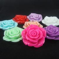 flower beads - 42mm Mixed resin flower beads with holes for jewelry accessories