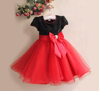 Wholesale Girls Party Dresses Hot Sale Children Big Bowknot Voile Dress Bling Bling Shining Flower Girl Dress