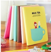 Wholesale Korea stationery MILK TEA lovely tea time rubber sleeve note book ST010