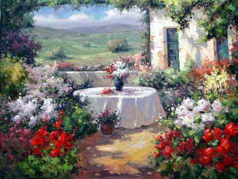 Simple Flower Garden Paintings Fine Flower Garden Paintings For Decorating