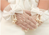 Wholesale Girls Formal Occasion amp Accessories Bridal Jewelry Bow Pearls Net Wedding Ivory Opera Fingertips Gloves Girls Jewelry