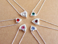 Wholesale Hot sale exquisite crystal heart pendant necklace top fashion women s chokers multy color mix cheap