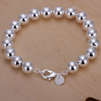 Wholesale Cheap good quality fashion Trend silver charm Smooth mm Prayer beads chain Ms bracelet jewelry cheer Christmas gift