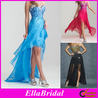 Wholesale 2013 New Arrival Sky Blue Red White Black Chiffon Crystal Beaded High Low Hi Lo Sweetheart Prom Dresses Wedding Evening Party Gowns Ella1015