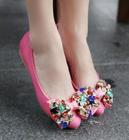 Slip-On beaded spikes - New arrival fashion banquet sexy princess luxury spike summer female bow noble sweet gem crystal beaded pointed flat shoes EU34