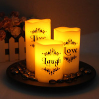 Wholesale 3 Piece Set Live Love Laugh Votive LED Candle Tea light Yellow with Tray Wedding Party Favor Bridal Shower Home Garden Decoration