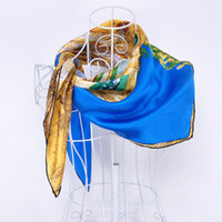 Wholesale Hot Sales Van Gogh The Yellow House Silk Satin quot Square Scarf Fashion Hijab Shawl to the Head Scarves Undershirt Summer Scarf