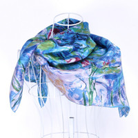 Wholesale Brand New Silk Hijab Scarf Fashion Square Scarves for Women Head Wraps Claude Monet s Art Painting quot Water Lilies quot Handrolled Hem Blue