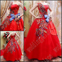 Wholesale Chinese Sexy Photos - New Free Shipping A-Line Chinese Style Red Wedding Dresses One-Shoulder Red Appliques Bow Waist Cyrstal Beaded Bridal Dresses Wedding Gowns