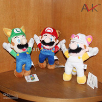 Wholesale Super Mario Bros Plush toy quot Raccoon Tanooki Mario Kitsune Fox Luigi White Racoon Fire Mario New