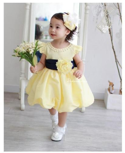Best baby wedding dress lovely yellow dress with pearl for Baby wedding dresses newborn