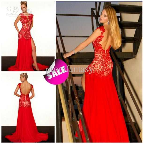 2013 Sexy Backless Red Lace Nude High Side Slit Prom Pageant ...