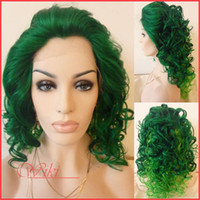 green Synthetic hair Curly 16-24inch Curly Synthetic lace front wigs, synthetic lace front wig heat resistant women party wig, green DHL Free Shipping