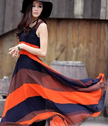 Wholesale New Fashion Boho Summer Dress Women s Color Block Chiffon Long Pleated Stripe Sleeveless Dresses E0783