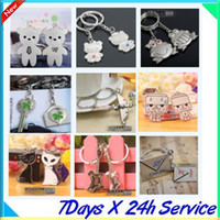 Wholesale fast shipping Chinese wind Chopsticks couple key ring cheap creative keychain cute wedding gift with