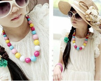 Wholesale Multicolored Candies Bead Children Necklace Girls Chunky Bead Necklace Round Bead Necklace