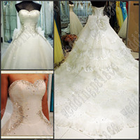 Wholesale New Arrival Luxury Amazing Crystal Ruffle Beaded Dazing Lace up Cathedral Train Bridal Dresses Wedding Dress
