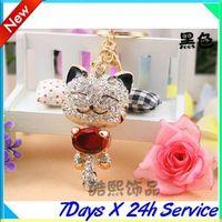 Wholesale Men s car keychain Korean creative red Lucky Cat Lady diamond key ring couple key chains
