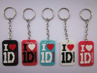 Wholesale I love D key chain One direction dog tag Silicon key ring tag blueredblackwhite pendant