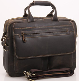 Wholesale Mens Genuine crazy horse Real Leather Antique Style Briefcases Business Cases Attache Messenger Bags