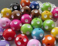 Wholesale 100 Chunky mm mixed acrylic polka dot beads latest