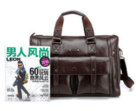 Wholesale Men s classical genuine leather briefcase men with long belt handle great quality luxury Handbag sho