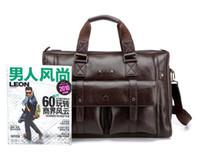Wholesale Men s classical genuine leather briefcase men with long belt handle great quality luxury Handbag sho