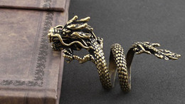 Wholesale 2013 Alternative Style Vintage Bronze Dragon Type Men Ring Punk Jewelry Double Rings TM2
