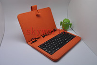 Wholesale DHL inch leather case With keyboard stand for Android Tablet MID Allwinner A13 Q88 Colors
