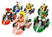 Super Mario New Year 0 to 15cm Super Mario Bros. Kart PULL BACK Car Figures 6pcs set Free shipping