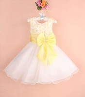 Wholesale Newest design Baby girls wedding party dress kids girl bowknots bow yellow dress flower cosplay children s Day colors years
