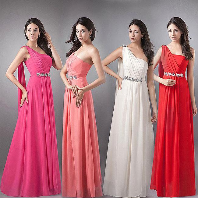 Women One Shoulder Formal Long Wedding Sexy Bridesmaid Prom Ball ...