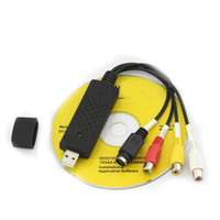 Wholesale DHL Free VHS Easycap USB Video TV DVD Cards Capture Adapter with USB Cable High Quality