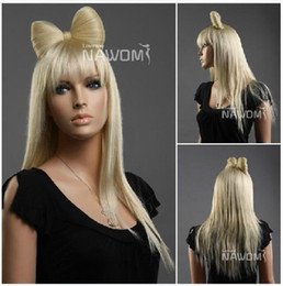 Wholesale Lady gaga bowknot Hair Wigs women Long hair gold Straight hair long hair wips
