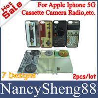 Wholesale 2PCS A Retro Cassette Tape Game Machine Gamepad Camera Calculator Radio Hard Plastic Case for Iphone5 Iphone G th CNP Free IP5