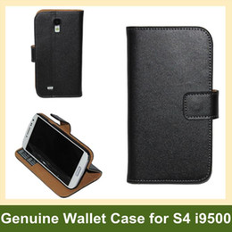 Wholesale Luxury Genuine Leather Wallet Case for S4 i9500 Folding Leather Flip Case for Samsung Galaxy S4 i9500 Free Shipping