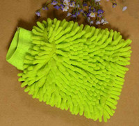 auto wash glove - 100pcs Microfiber Chenille Car Wash Glove Prvate Household Cleaning Cloth Single Sided Auto Mitt By DHL