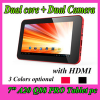 Wholesale New Inch Android A20 Dual Core Q88 PRO tablet PC GB Points Capacitive Dual Camera HDMI USB Ebook Reader VIA A13