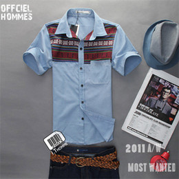Wholesale 13 summer new men s short sleeved shirt the national wind splicing Slim tide casual sho