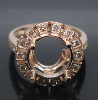 Wholesale ROUND CUT MM SOLID K ROSE GOLD NAURAL DIAMOND Wedding Engagement SETTING SEMI RING MOUNT