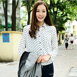 Wholesale 2013 Women s Sweetie Long Sleeve Turn Down Collar Fashion Vintage Polka Dot Shirt WF1189