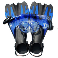 Snorkels Sets   Wholesale--Diving Tools Full Dry Snorkel Breathing Tube Diving Goggles Web-footed Fins Flippers On Sale