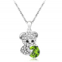 baby terms - Stock Price For Long Term Partnership Fashion Baby bear Necklace Crystal Necklace
