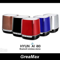 Wholesale HYUNDAI i80 Mini Protable Bluetooth Speaker Hands Free Speakerphone Wireless HiFi Stereo Loudspeaker For iPhone S4 s3 MP4 Tablet PC Music
