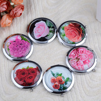 Wholesale Fashion Glass Mirror Frame Flower Pattern Glass Pocket Compact Mirror Magnifying Makeup Mirrors