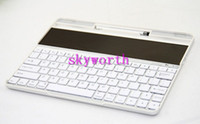 Wholesale Solar Charger Aluminum Bluetooth Wireless Keyboard Back Case Cover for ipad New ipad Stand